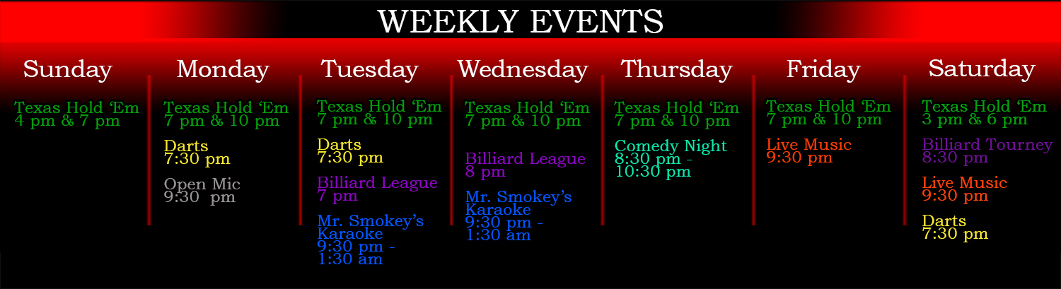 Sweetwater Bar Weekly Events